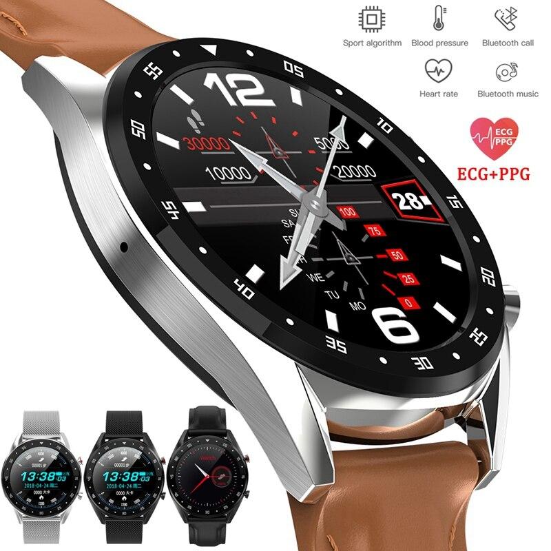 2019 новейшие PPG + ЭКГ Смарт часы мужские полный круглый сенсорный экран Bluetooth Вызов Ip68 водонепроницаемый ремешок Сменные умные часы