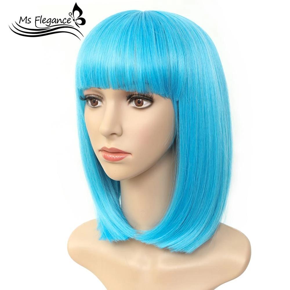 Ms Blue Wig 12 Short Bob Hair Wig Straight Bangs Short Hair Cosplay Synthetic Wig Natural As Real Hair With Wig Cap Daily Aliexpress