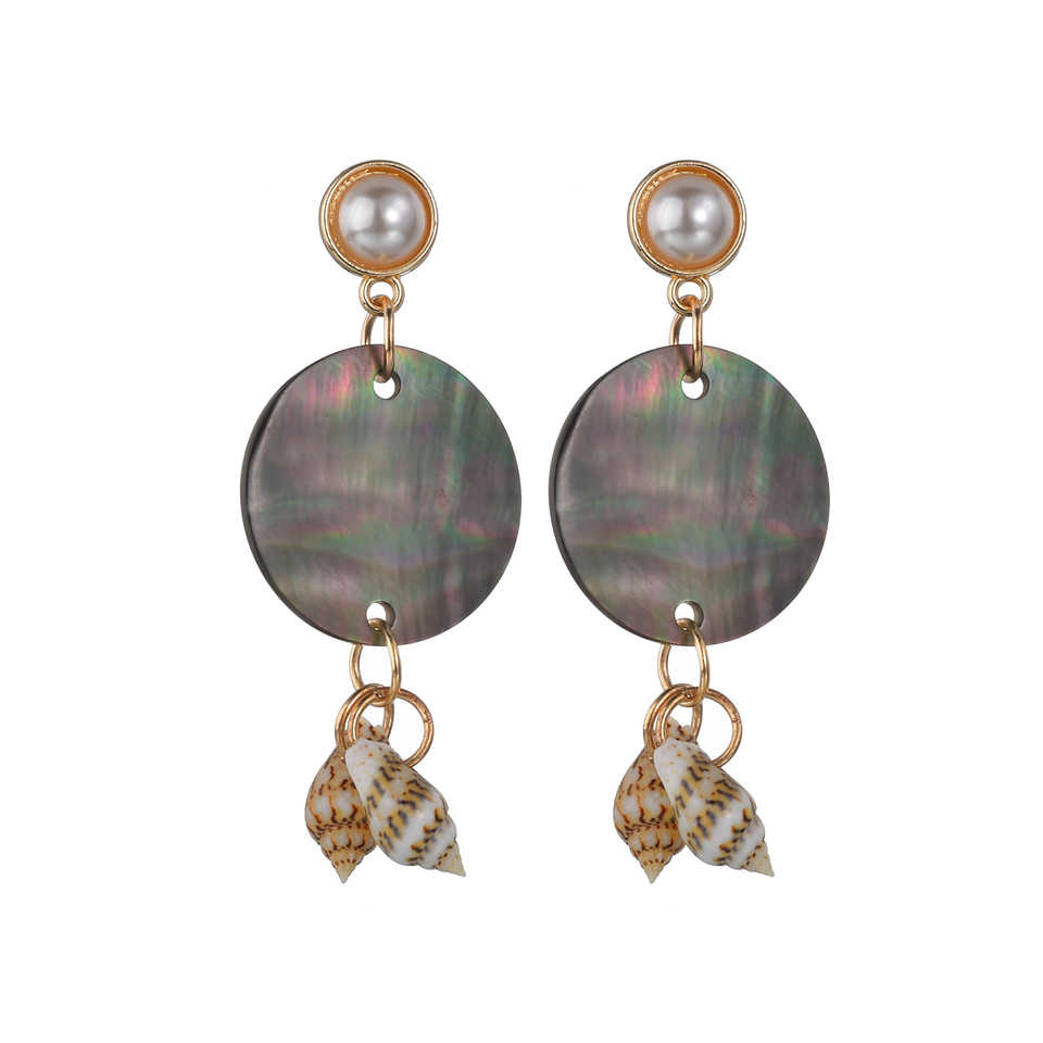 2019 New Round Ball  Geometric Round Grey Acrylic Statement Long Drop Earrings Acetic Acid Resin Stick Earrings For Women