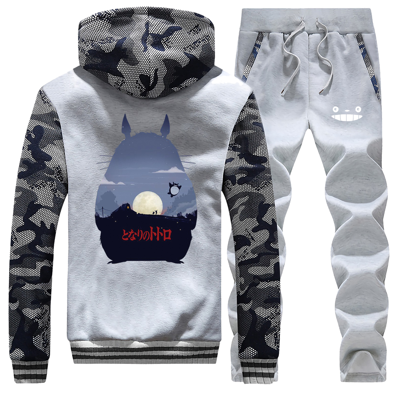 Tonari No Totoro Print Anime Tracksuit Thick Fleece Sweatshirts Mens Zip Jacket+Pants 2 Piece Sets Men Hoodies Winter Warm Suit