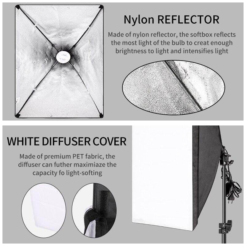 Photography Lighting Kit Photo box Professional Studio Continuous Equipment with 2 Bulbs E27 Socket  50cm*70cm Softbox 2