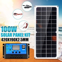 100W Solar Panel 18V Dual USB with 3W LED Lamp + 10A USB Solar Regulator Charger Controller for Car Outdoor Camping Light