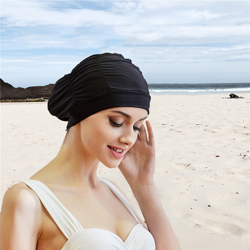 2020 Sexy Swimming Cap Womens Long Hair Swim Hat Outdoor activities Solid Cap Bathing Drape Stretch Sports Seaside Fold Girls(China)