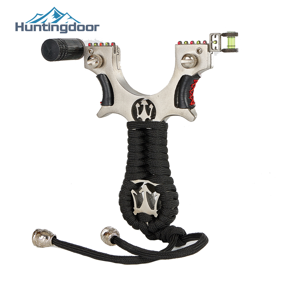 Huntingdoor Power Rubber Band Alloy Slingshot High Precision Flat Leather Catapult Outdoor Shooting Professional Sling Shot Bow