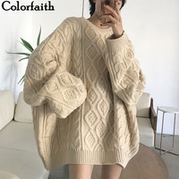 Colorfaith New 2019 Autumn Winter Women Pullovers Sweater Oversize Knitting Loose Elegant Casual Solid Minimalist Tops SW7418
