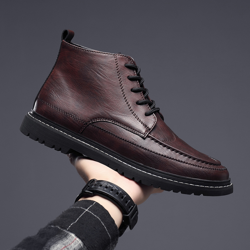 Earnest Men's Winter Leather Boots Black High-top Military Ankle Boots Men Autumn Comfortable Sneakers Casual Men Boots