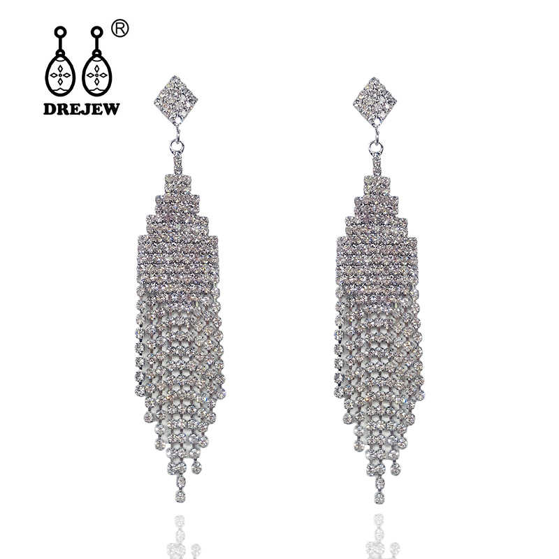 DREJEW Gold Silver Rose Rhinestone Statement Dangle Earrings Christmas Long Tassel Drop Earrings for Women Wedding Jewelry E765