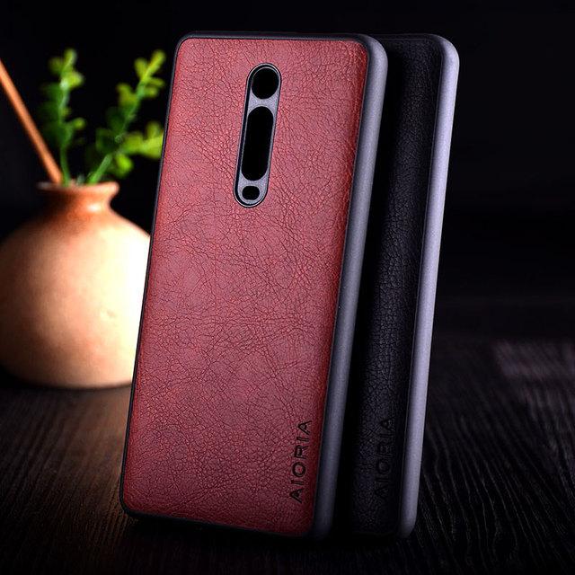 Kılıf Xiaomi Mi 9t redmi K20 pro funda lüks Vintage deri litchi cilt kapak TPU + PC telefon kılıf xiaomi mi 9t mi9t