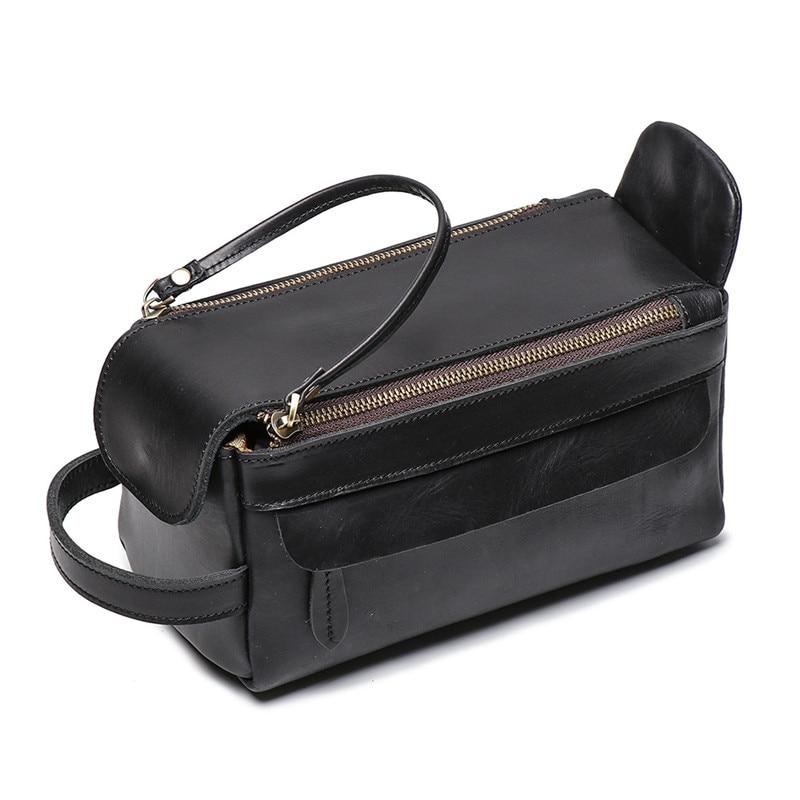 Nesitu Highend Vintage Brown Black Genuine Crazy Horse Leather Women Men Cosmetic Bag Travel Toiletry Wash Make Up Bags M9049