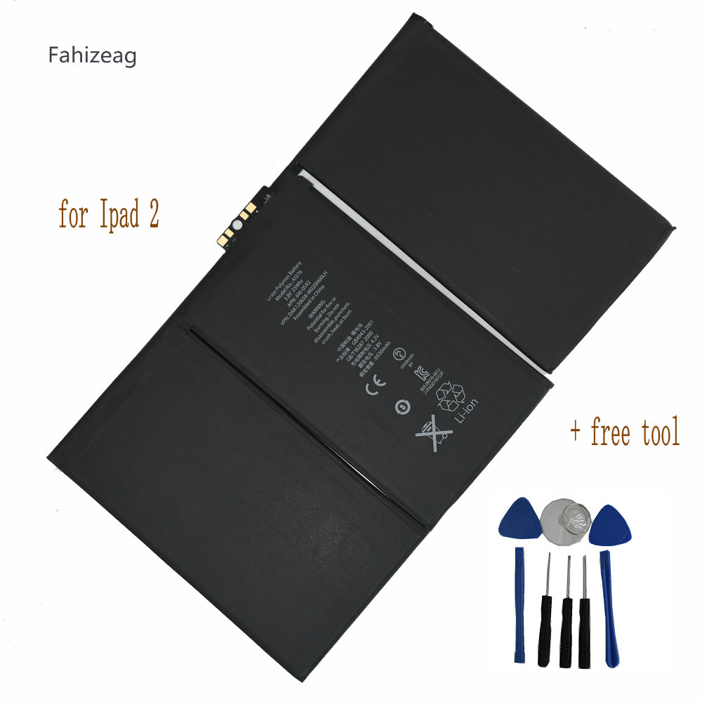 Fahizeag 6930mAh <font><b>Battery</b></font> Replacement <font><b>A1376</b></font> A1395 Back Up Bateria For iPad 2 2nd Lapto p <font><b>Batteries</b></font> <font><b>battery</b></font> + free tool image