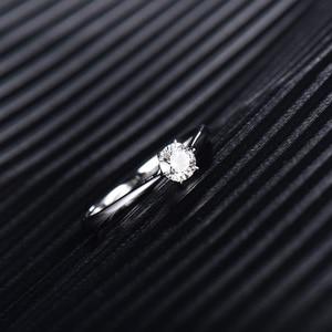 Image 4 - Loverjewelry 14Ktモアッサナイトリング女性ラウンドカット天然リアルダイヤモンドウェディング用ホワイトゴールド女性婚約ギフト