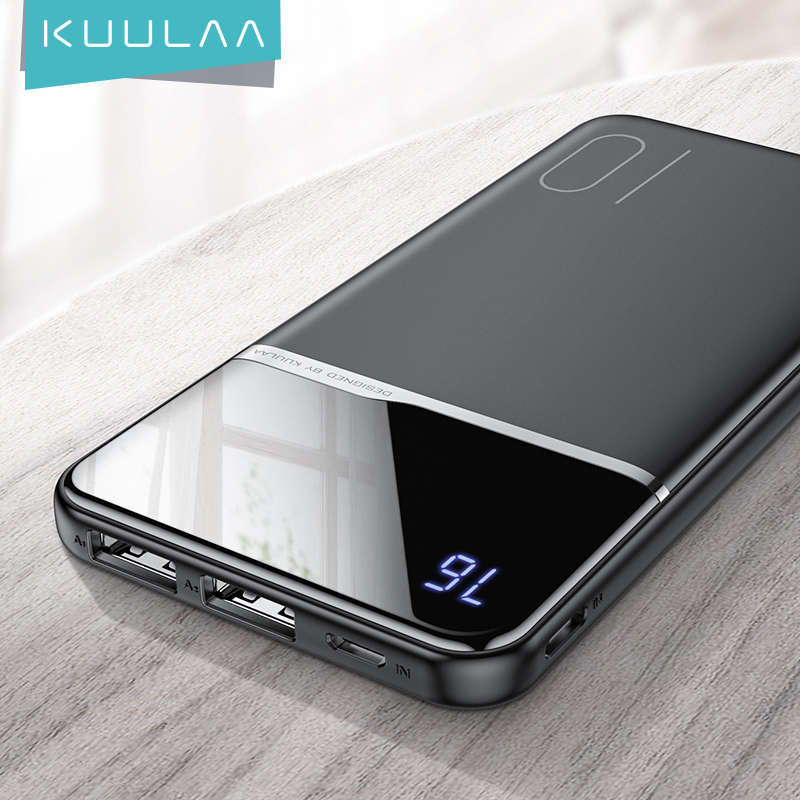 KUULAA Power Bank 10000mAh Портативное зарядное устройство Poverbank 10000 мАч Dual USB сверхтонкое зарядное устройство для Xiaomi Mi 9 8 iPhone