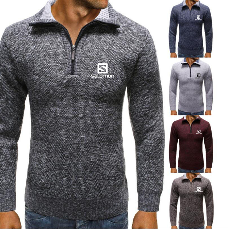 2019 Autumn New Men's Salomon Sweatercoat Pullovers Male Winter Thick Sweaters Coat Stand Collar Slim Fit Knitted Pullover M-3XL