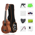 21 Polegada ukulele ukelele soprano mogno madeira com saco de transporte uke cinta cordas clip-on tuner pano de limpeza dedo maraca picaretas