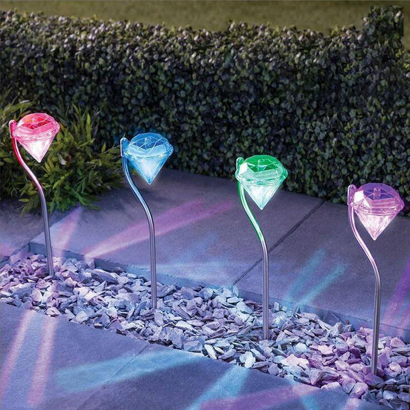 4pcs Garden Decoration LED Solar Light Lamps LED Diamonds Lawn Light Outdoor Solar Powered Path Stake Lanterns Lamp Home Decor