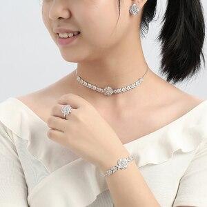 Image 2 - Conjunto de joyería con diseño de flor para mujer, collar, pendientes, pulsera y anillo, fiesta, circonio de boda, CN1026