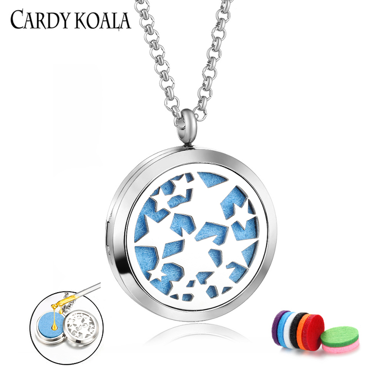 30MM stainless steel beautiful starry pattern aromatherapy essential oil diffusion perfume pendant necklace men and women free s