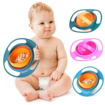 360 Rotate Spill-Proof  Dishes Gyro Bowl Dishes Training Feeding No Spill Anti Messing Bowl Infant Baby Learning Feeding Toy