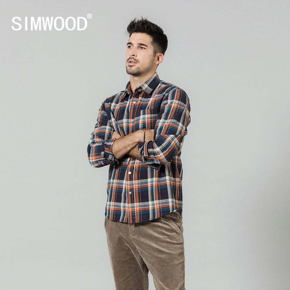 SIMWOOD 2020 Spring New Plaid Shirts Men Long Sleeve 100% Cotton Checked Shirt High Quality Plus Size Brand Clothing  SI980763