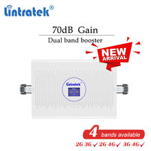 Lintratek 70dB dual band 2G 3G 4G cellular signal booster GSM 900 1800 2100mhz 900mhz repeater 1800mhz LCD amplifier ALC  #dd
