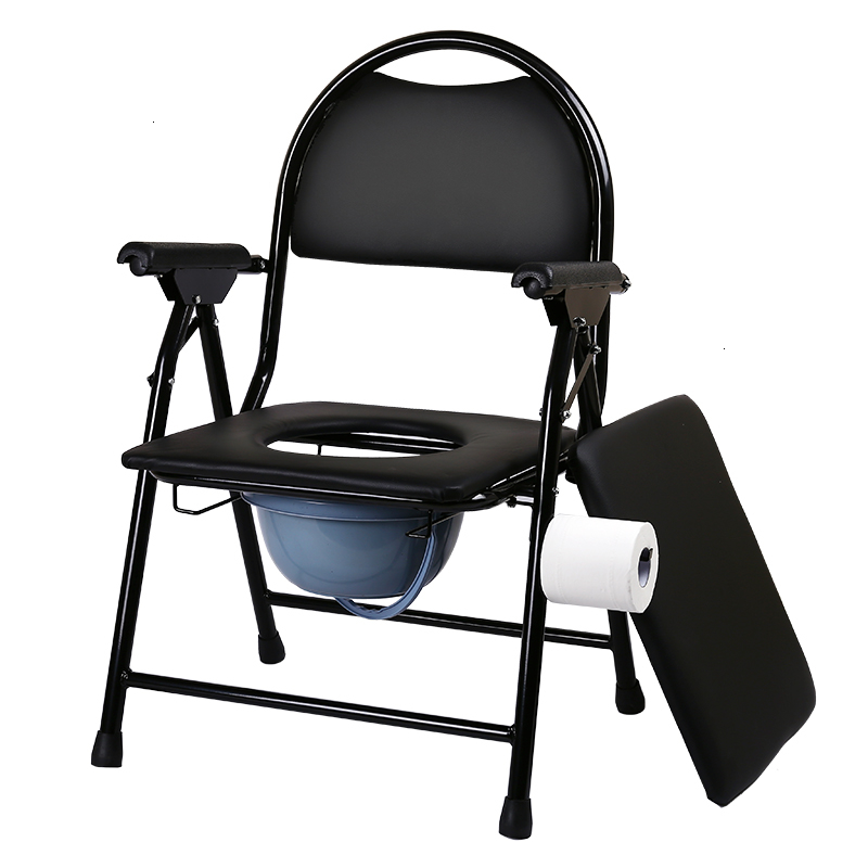 Disability Aged Stool Chair The Elderly Sit Toilet Chairn Foldable Move Closestool Toilet Chair Taburete Black With Chamber Pot