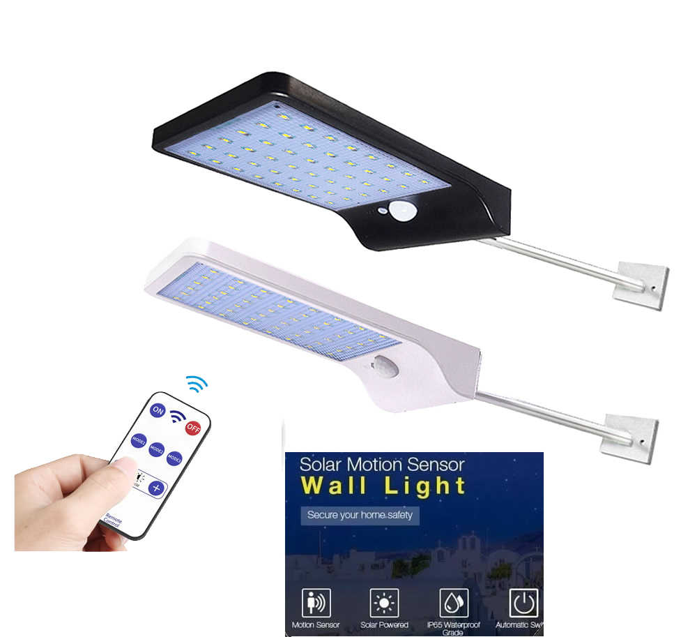 ปรับแสงพลังงานแสงอาทิตย์ 48 LED PIR Motion Sensor โคมไฟพลังงานแสงอาทิตย์สามโหมดรีโมทคอนโทรลกลางแจ้ง Garden Street YARD Wall LIGHT