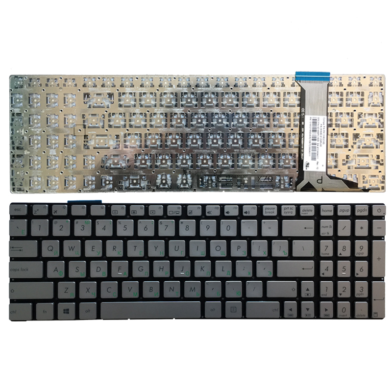 Russian Silver Laptop Keyboard For ASUS GL752 GL752V GL752VL GL752VW GL752VWM ZX70 ZX70VW G58 G58JM G58JW G58VW