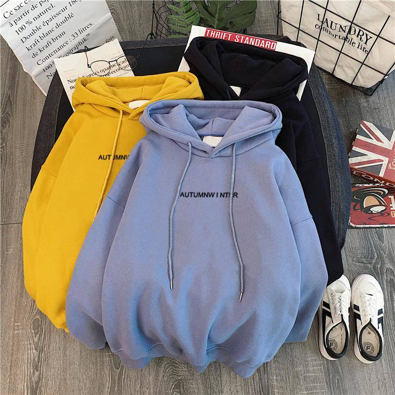 Autumn And Winter Plus Velvet Ladies Casual Hooded Pullover Female Students Loose Thick Long-sleeved Casual Pullover Sweatshirt