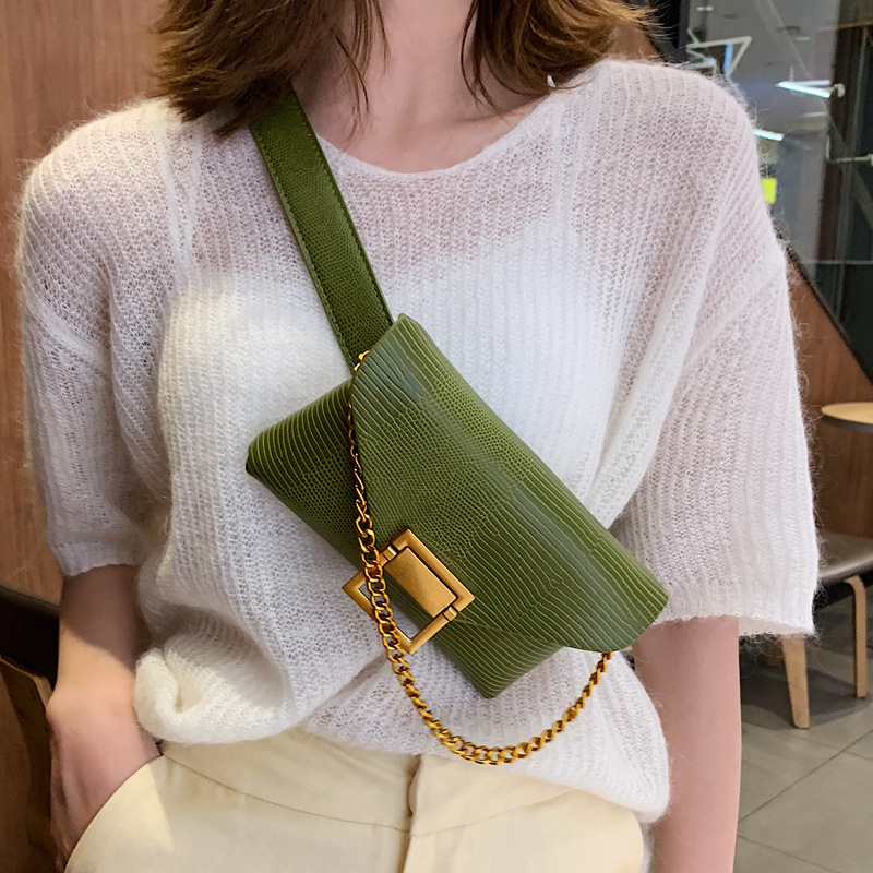 Women Leather Waist Bag Pu Pack Mobile Phone Bag  Fashion Slant Bag Chain  Shoulder Bag Belt Bag