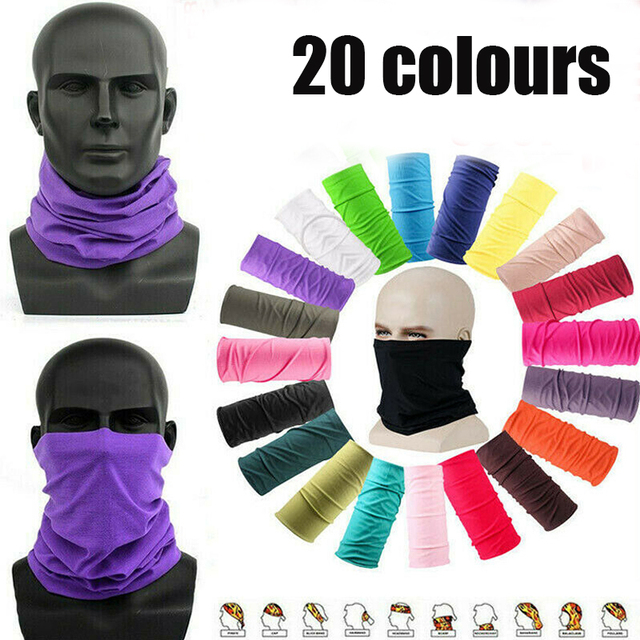 20 color Women Men Outdoor Sports Bandana Scarf Headwear Solid color Face Mask Riding Cycling Headscarf Tube Wristband Headband