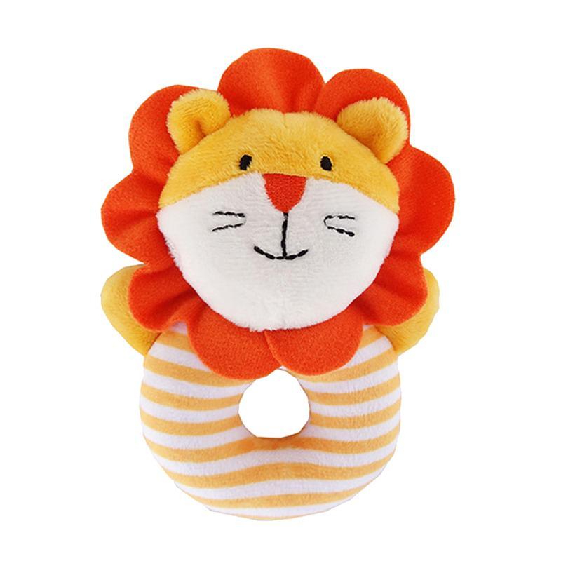 Animal Baby Soft Hand Rattle Squeaker Developmental Educational Animal Rattles Infant Baby Toys (Orange Lion)