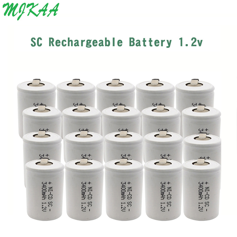 MJKAA SC 1.2V 3400mAh Rechargeable Battery 4/5 Sc Sub C Ni-cd Cell Batteries With Welding Tabs For Electric Drill Screwdriver