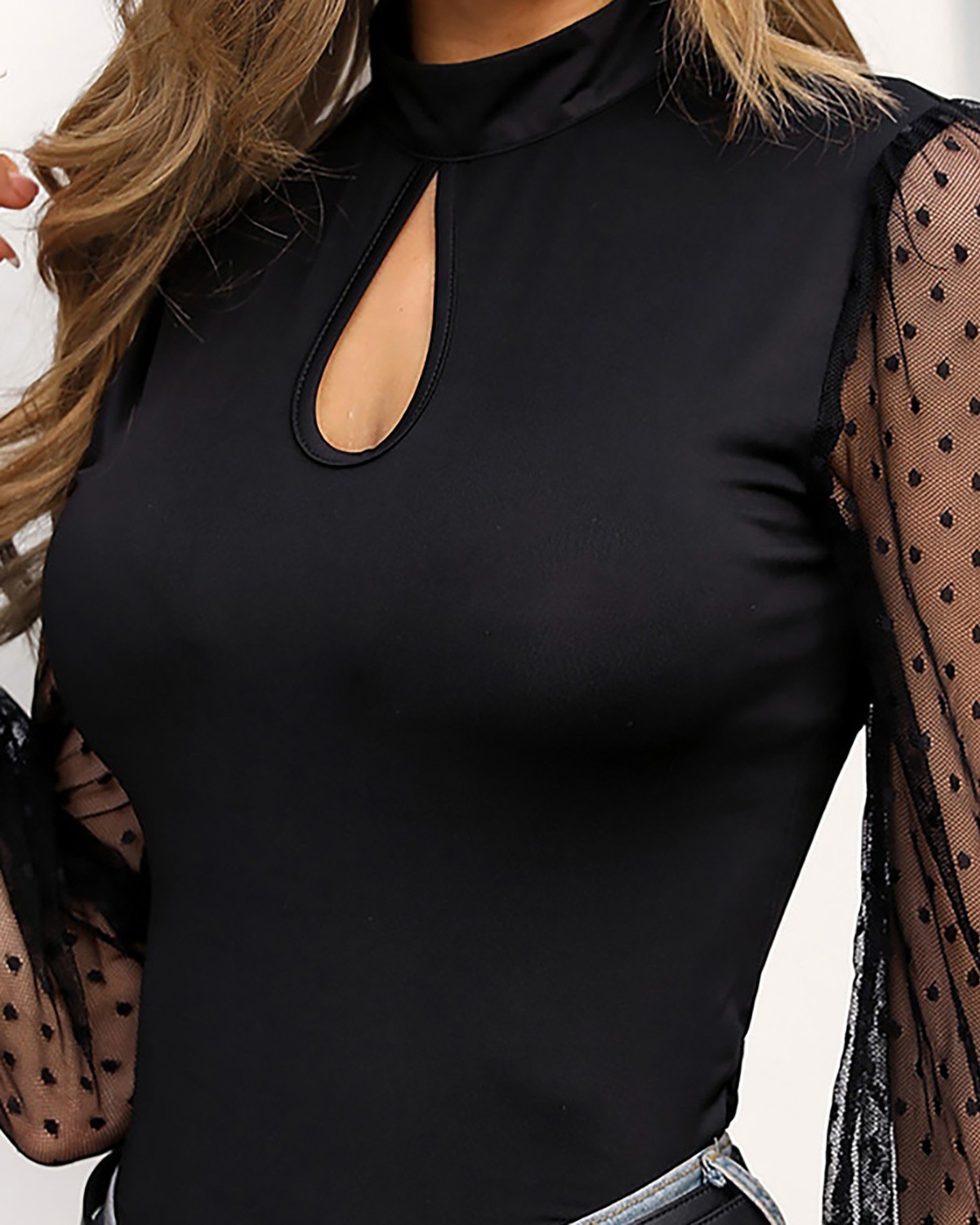 Long Sleeve Lace Mesh Hollow Out Office Work Bodysuit Romper