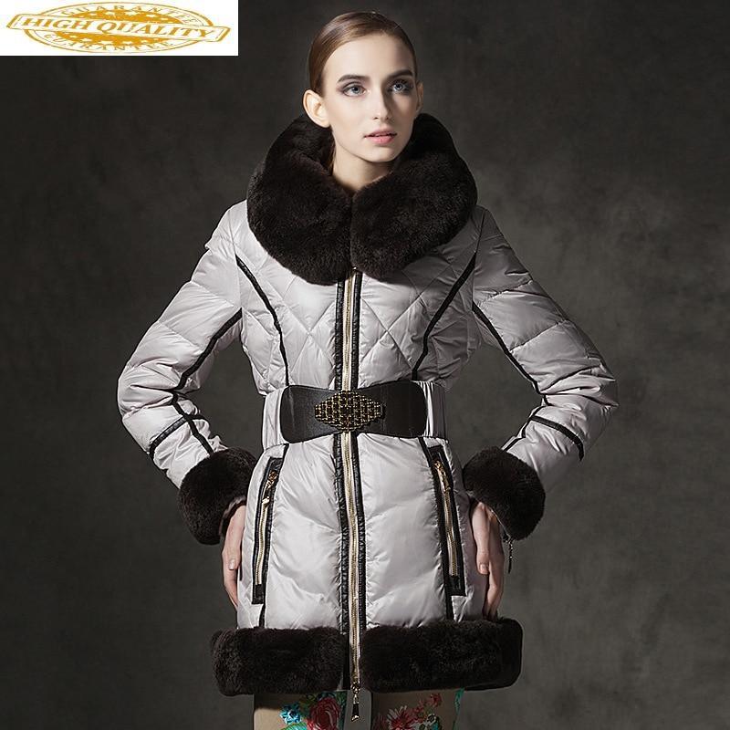 Women's Down Jacket Winter White Duck Down Warm Coat Women Fashion Real Rabbit Fur Collar Thick Puffer Jackets U13323 KJ2608