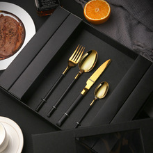 Tablewellware Black Gold Cutlery Forks Knives Spoons Tableware Set Stainless Steel Kitchen Dinnerware Dropshipping