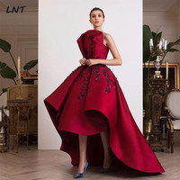 Sleeveless Pleated High Low Evening Dresses with Black Lace Haute Couture Evening Gowns Formal Occasion Dress