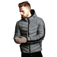Winter Men's Hooded Parkas Full Zip Warm Cotton Sports Bomber Jackets Muscle Fit Fashionable Tide Casual Black Coat for Autumn