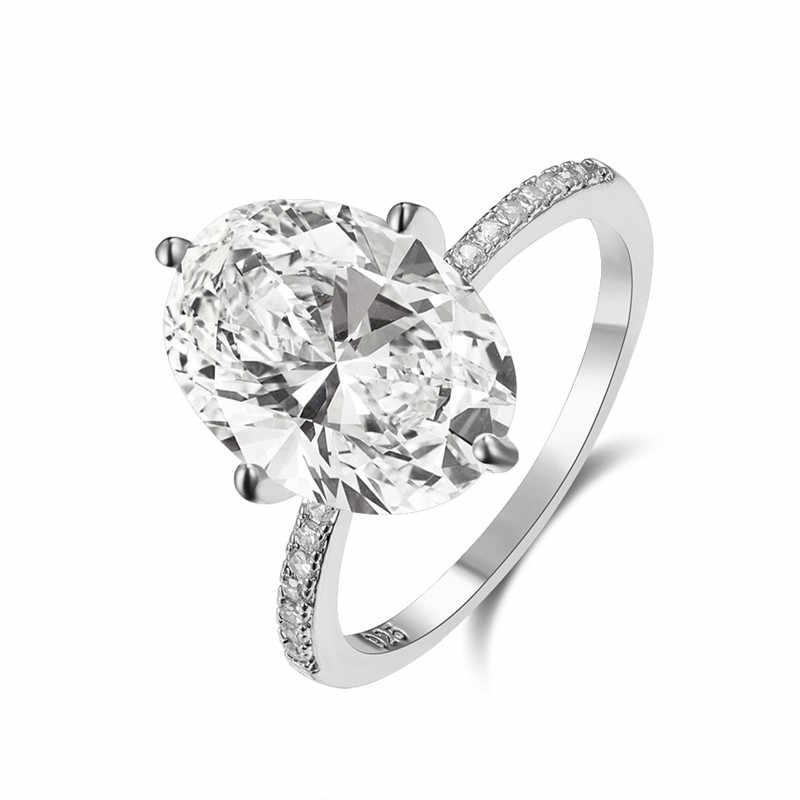 Anel de pedra de cristal branco feminino do vintage cor de ouro de luxo fino anéis de casamento para as mulheres minimalista nupcial oval anel de noivado