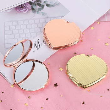 1 Uds espejo de maquillaje de Metal rosa dorado de doble cara bolsillo compacto portátil plegable redondo herramientas de maquillaje en forma de corazón nuevo caliente