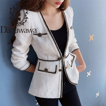 Dabuwawa White Elegant High Street Open Front Frayed Edge Solid Fashion Jacket Office Lady Women Coat And Outerwear DT1DSO002 платье edge street edge street ed008ewbkko8