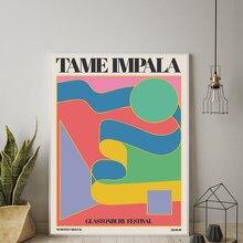 Tame Impala A Glastonbury Gig Poster Vintage Colorato della Tela di Canapa Pittura Retro Immagini A Parete per Soggiorno Complementi Arredo Casa No Frame