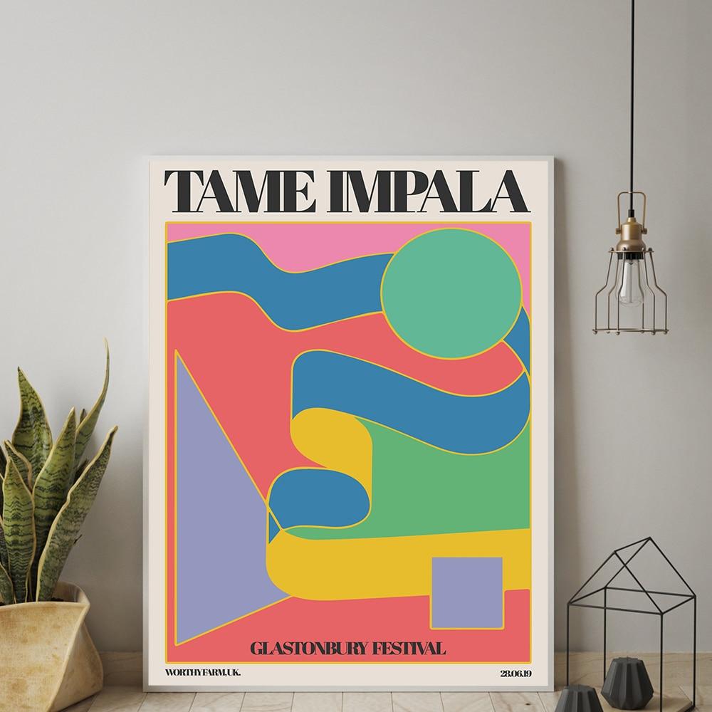 Постер Tame Impala At glведьмэри Gig, винтажная красочная Картина на холсте, ретро настенные картины для гостиной, домашний декор без рамки