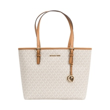 MICHAEL KORS MK LOGO PVC JET SET TRAVEL MEDIUM CARRYALL TOTE BAG