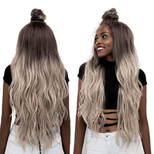 Ombre Grey Synthetic Lace Front Wigs Long Wave Moon Part Lac