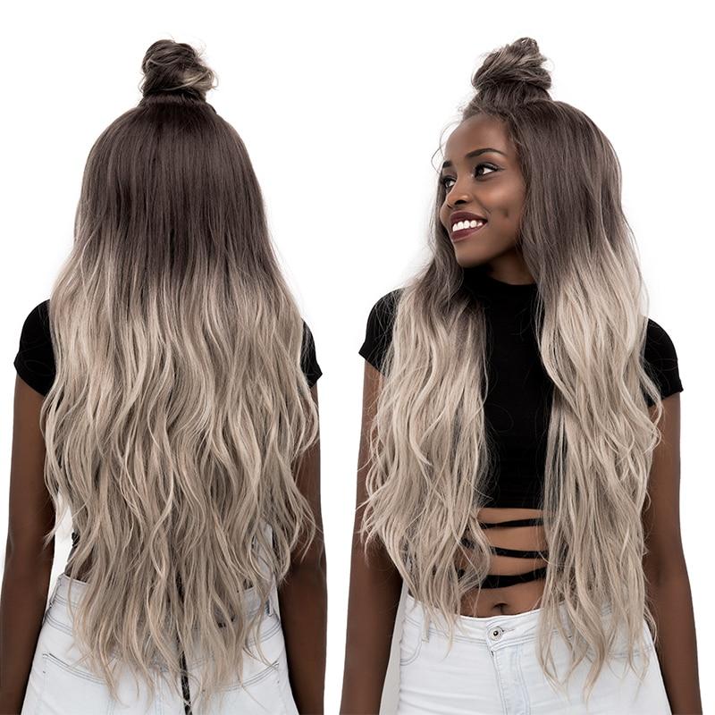 Ombre gris synthétique dentelle avant perruques longue vague lune partie dentelle perruque pour les femmes noires nouvelle mode dentelle avant perruques avec des cheveux de bébé