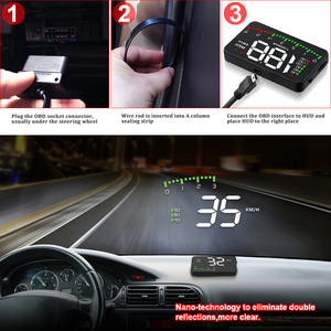 """Image 5 - OBDHUD A300 OBDII ראש למעלה תצוגה 9 V 16 V קמ""""ש KM/H דלק מהירות אזהרת מערכת שמשה קדמית מקרן רכב Accesorie משלוח חינם"""