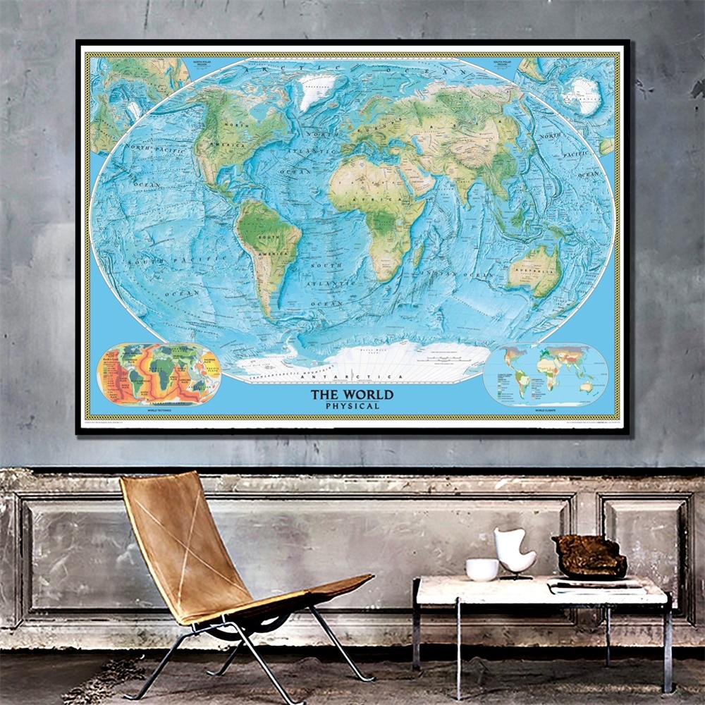 A2 Size Fine Canvas Printed The World Physical Map With World Climate And Tectonics Unframed Wall Map For Home Decoration