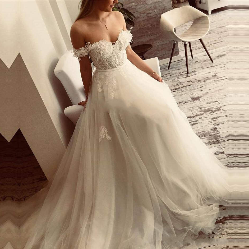 Off The Shoulder Sexy Sweetheart Wedding Dresses Lace Appliques Vestido De Noiva White Ivory Tulle Backless Wedding Party Dress