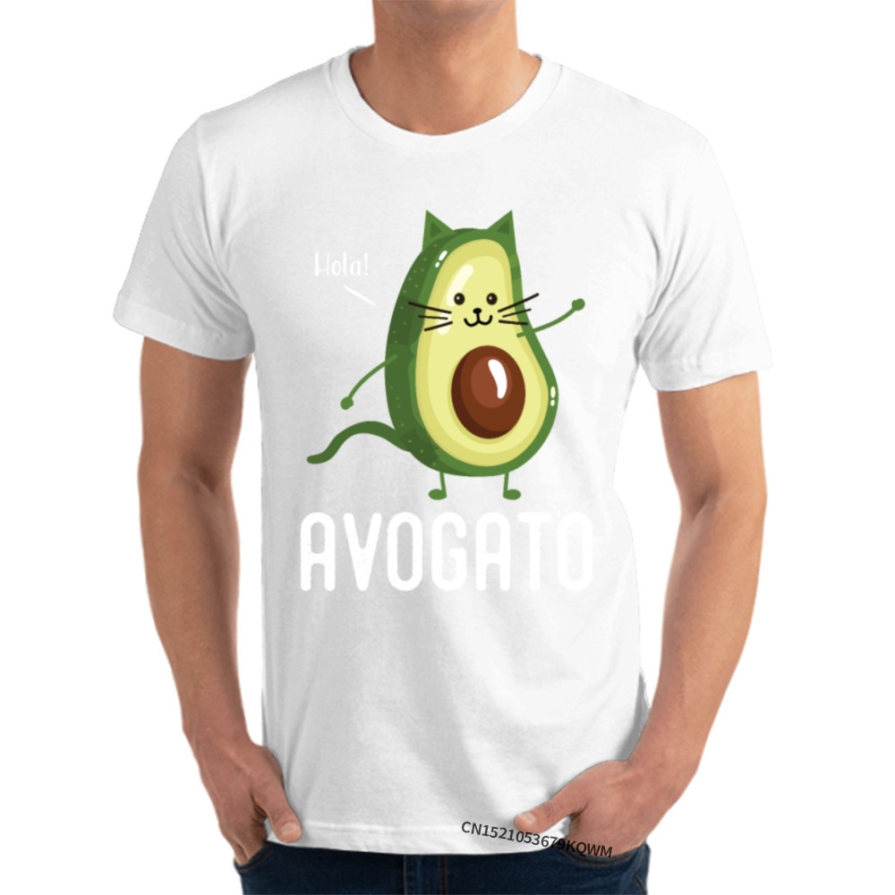 Avocado Cat T Shirt Prevailing O-Neck Personalized Short Sleeve Cotton Fabric Man T Shirts Funny T-Shirt Free Shipping
