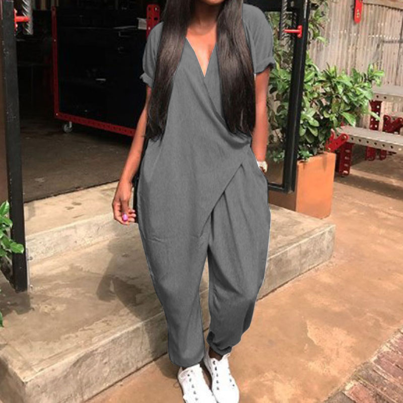 Plus Size Women Jumpsuits 2020 ZANZEA Summer Overalls Fashion Pantalon Pants V Neck Button Playsuits Female Short Sleeve Romeper